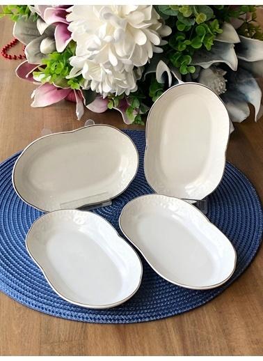 ROSSEV Arox Küçük Porselen Oval Servis Tabak 4'Lü Renkli